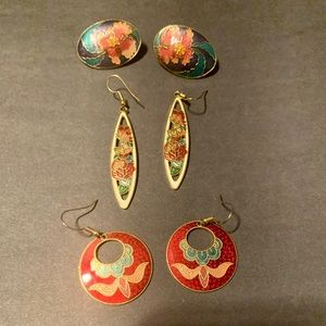 Vintage enameled flower & butterfly earrings